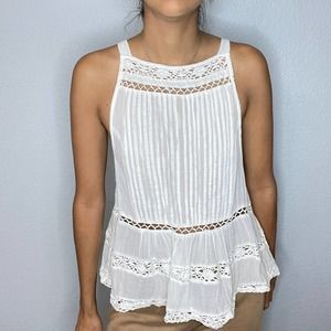 Free people white square neck tank top Size small